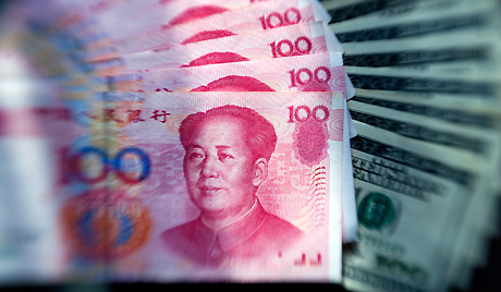 The renminbi falls back against the dollar