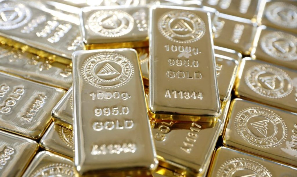 1 kg. gold bars are seen on a production line in Ahlatci Metal Refinery in the central Anatolian city of Corum, Turkey, May 11, 2017. Picture taken May 11, 2017. REUTERS/Umit Bektas - RC13F1714500