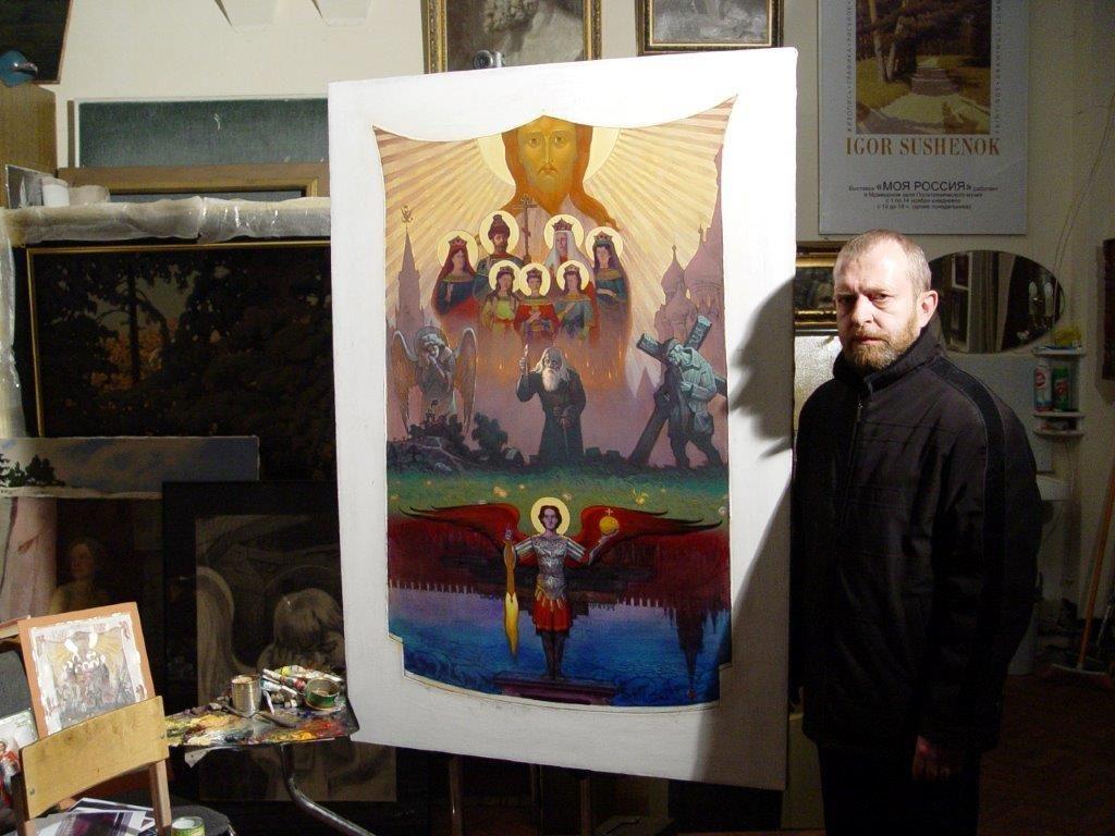 Мельников в мастерской И.Сушенка в день своего рождения 6марта2006г.