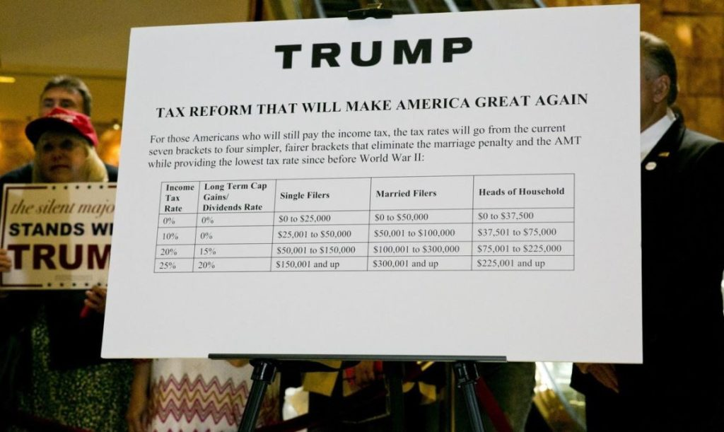 """A poster outlining Trump's tax plan, titled """"Tax Reform That Will Make America Great Again,"""" hung behind him at a September news conference."""