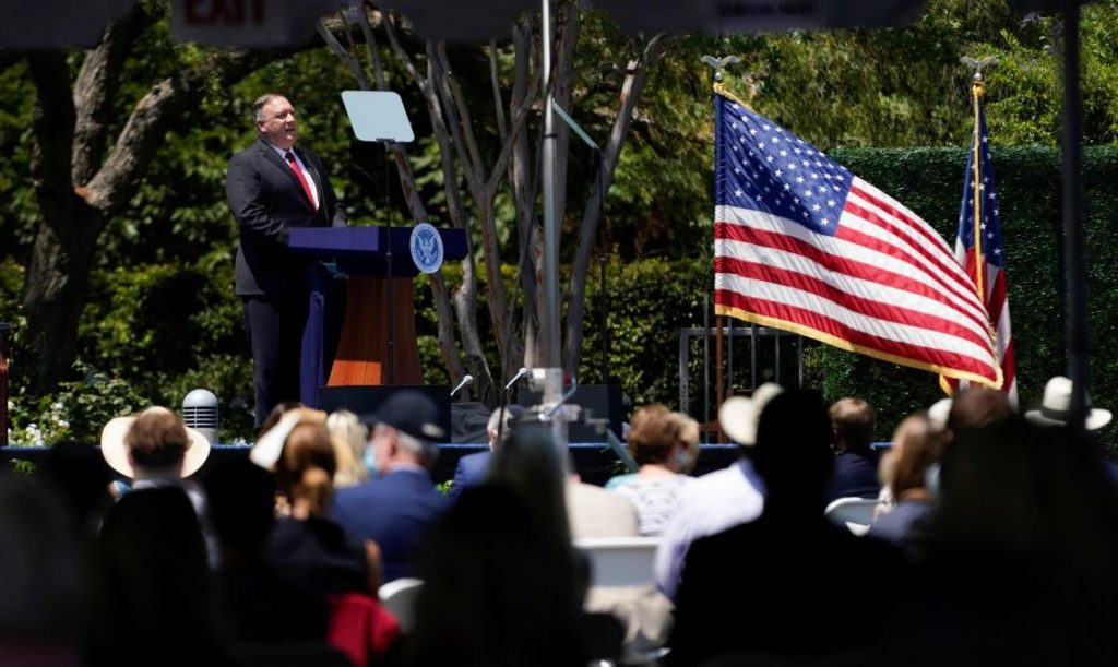 U.S. Secretary of State Mike Pompeo speaks at the Richard Nixon Presidential Library, in Yorba Linda, California, U.S., July 23, 2020. Ashley Landis/Pool via REUTERS - RC29ZH99DQ1K