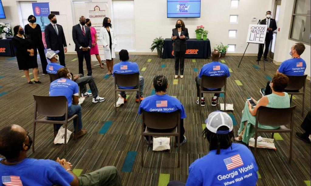 U.S. Vice President Kamala Harris speaks during a visit to a pop-up COVID-19 vaccination site at Ebenezer Baptist Church in Atlanta, Georgia, U.S. June 18, 2021. REUTERS/Jonathan Ernst - RC243O9SZ6D5